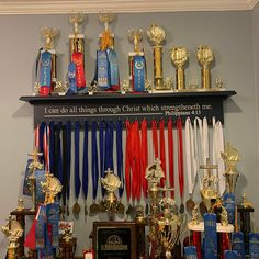 Trophy Stand, Trophy Shelf, Trophy Display, Award Display, Small Man Cave Office Ideas, Dance Awards, Trophies And Medals, Ribbon Holders, Trophy Rooms