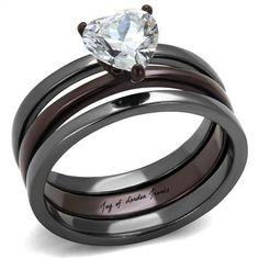 1CT Heart Cut Russian Lab Diamond Chocolate & Light Black Bridal Set