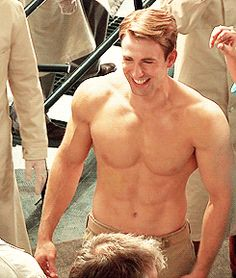 Here's a GIF of Chris Evans shirtless and laughing. You're welcome!