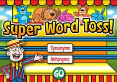 ONLINE RESOURCE SYNONYMS AND ANTONYMS~  Super Word Toss is a fun, educational game for kids to practice matching synonyms and antonyms. Kids can choose from two different levels of difficulty before they play. The rules of the game are simple. Get 10 correct matches and choose a new ball! Get 3 incorrect in a row and the game is over!