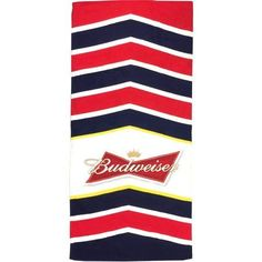 Budweiser Chevron Beach Towel, Multicolor