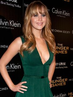 If you want blunt bangs, be sure to discuss their width with your stylist. Jennifer Lawrence nailed it by cutting her bangs at her brows and blending them with wispy layers in the front.