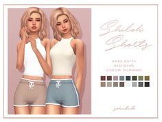 ♡Shiloh Shorts♡  I finally made some solids of the Sloane shorts using the breakfast palette. Thank you to all of the wonderful simblrs who tested these out several times for me. You are all amazing!!! (special thanks to @blogsimplesimmer for giving...