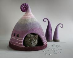 Cat cave, Cat bed, Lilac, Burgundy, Grey , Cat house, Pet house, Felt cat cave, Natural wool, Eco friendly, Fantasy cat cave