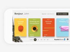 The New Rosetta Stone iOS app par Darko Škulj Web Design Blog, Ios App Design, Flat Web Design, User Interface Design, Web Layout, Design Layouts, Website Layout, Motion App, Mobile Ui Patterns