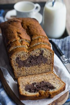 Chocolate Peanut Butter Cheesecake Stuffed Banana Bread - Baking A Moment