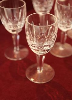 """Set of six Waterford crystal stemware port glasses approx. 5.25"""" tall."""
