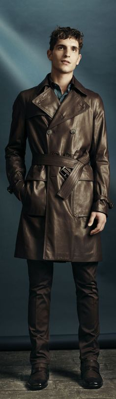 by Berlutti brown leather trench coat