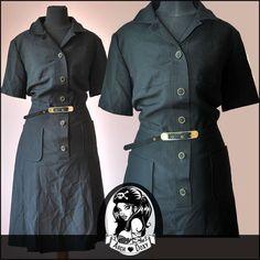 Vintage 1960s MOD Shirtfront Black Patch Pocket SKA Scooter Twiggy Dress Size 16