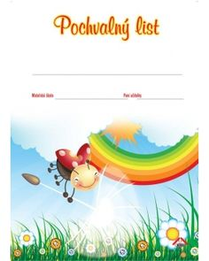 Pochvalní list beruška Certificate, Back To School, Crafts For Kids, Clip Art, Drawings, Classroom, Crafts For Children, First Day Of School, Entering School