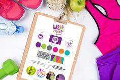 Portfolio project: Well In Fitness brand board | Beehive Green Design Studio