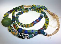 One Strand Green African Traditional Glassbeads, Handmade, Trade Beads, 1 Strand with 43 Green African Handmade Glasbeads