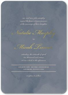 Marbled Devotion - Signature White Wedding Invitations - Magnolia Press - Deep Blue - Blue : Front