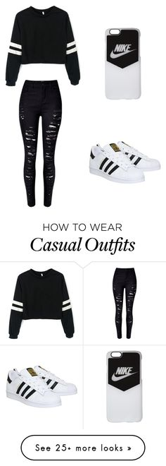"""Casual Black & White"" by basketballislife11 on Polyvore featuring WithChic, adidas and NIKE"