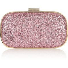 Anya Hindmarch Marano glitter-finish leather clutch ($550) ❤ liked on Polyvore