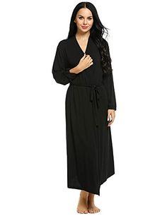 Spa Robe Womens Sleepwear Comfy Loungewear Kimono Collar Lingerie S-XXL -  Black - Clothing 2de26c8b0