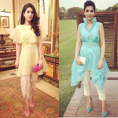 in two pretty organza looks from 's upcoming collection - a little different from the wraps everyone is… Indian Designer Outfits, Indian Outfits, Designer Dresses, Fancy Blouse Designs, Dress Neck Designs, Party Wear Indian Dresses, Pakistani Dresses, Frock Fashion, Fashion Dresses