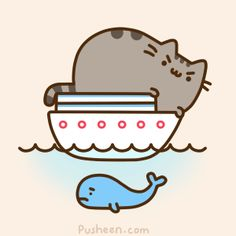 Pusheen Giant Cat on a Boat