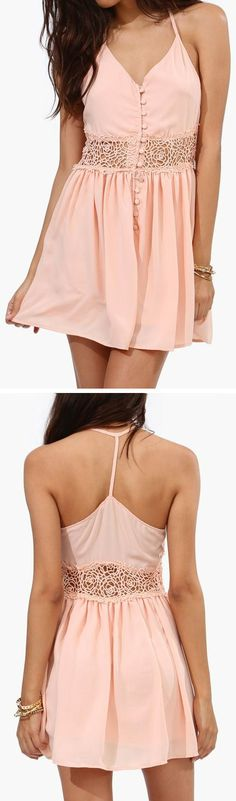 Peach Lace Waist Tank Dress ♥