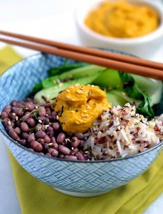 Macro Bowl With Carrot-Ginger-Almond Sauce 11 Macro Bowl Recipes That'll Make You Want to Eat Healthy via Brit + Co