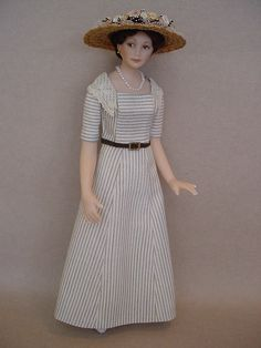 Inspired by Lady Mary Crawley from Downton Abbey, this 5 inch high dollshouse doll is by Debbie Dixon-Paver.