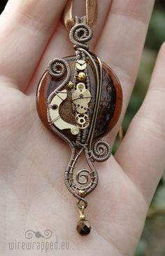 OOAK Brown steampunk pendant      From ukapala