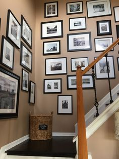 Oh the Places You Will Go! Gallery Wall Staircase, Stair Gallery, Gallery Walls, Modern Cottage, White Cottage, Picture Wall, Photo Wall, Travel Gallery Wall, Cottage Homes