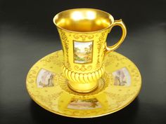 Coalport Porcelain (Shropshire, England) — Cup and Saucer, Antique Tea Cups, Vintage Cups, Vintage Tea, Yellow Cups, Cafetiere, China Cups And Saucers, Chocolate Cups, Tea Service, Coffee Set