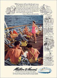 Matson Cruise Ship travel Ad, 1950