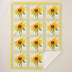 Yellow Black-eyed Susan Floral Photography Blocks Sherpa Blanket - summer gifts season diy template ideas