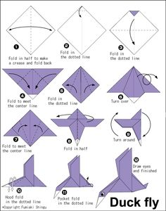 Duck Fly - Easy Origami instructions For Kids Mais Origami 3d, Origami Duck, Dragon Origami, Design Origami, Origami Simple, Origami Mouse, Origami Templates, Origami Star Box, Origami Fish