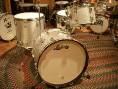 From Steve Maxwell Vintage and Custom Drums, Joe Morello's original Brubeck era (early 60s) Ludwig kit.  Drums as 9x13, 16x16, 14x22 in Joe's favorite silver sparkle and complete with 5x14 brass shell Supraphonic 400 that he favored so much.