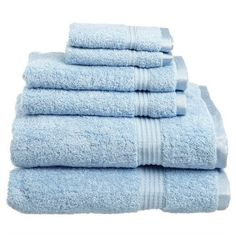 Superior 600GSM Luxurious Egyptian Cotton 6pc Towel Set (€37) ❤ liked on Polyvore featuring home, bed & bath, bath, bath towels, bathroom, fillers, other, furniture, light blue and light blue bath towels