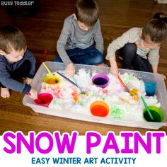Paint Snow Winter Activity for Kids - Busy Toddler Need a winter activity for toddlers and preschoolers? Try letting them paint snow! This is a quick and easy snow day activity for kids! Winter Activities For Toddlers, Snow Activities, Indoor Activities For Kids, Toddler Activities, Learning Activities, Winter Art Projects, Craft Projects For Kids, Snow Theme, Snow Fun