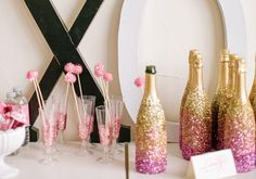 The Wedding Decorator: Pink and Gold Sparkly Party Ideas in Marbella-dip it in sparkle!!