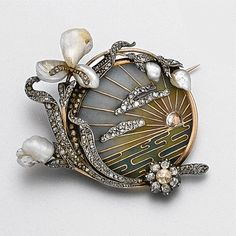 Art Nouveau plique-à-jour enamel, diamond and pearl brooch, circa 1900 - Sotheby's