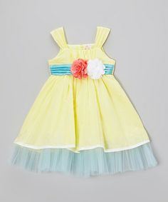 Another great find on #zulily! Yellow Rosette Tulle Ruffle Dress - Toddler & Girls #zulilyfinds