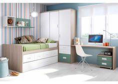 Habitación Infantil: Juvenil con compacto de 2 camas y escritorio   Dormitorio Juvenil con cama compacta de 4 contenedores + Deslizante. Cuenta con armario con cajones