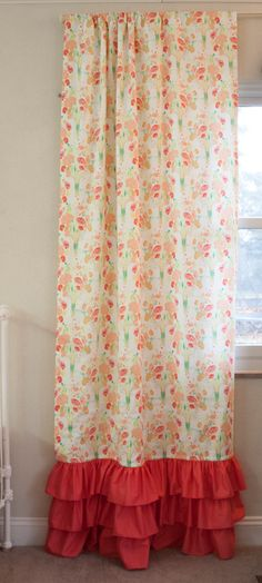 Ruffles at the bottom curtains with matching valence! Coral and ...