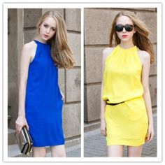 TE1443GJWL Euramerica fashion best chiffon halter dress Product Detail: COLOR: Blue, Yellow, Red, Black Fabric: Pearl chiffon WEIGHT: 0.210kg SIZE: One size Length: 85cm, Bust: 94cm, Waist: 96cm