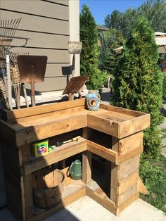 Build storage for garden tools out of left over wood