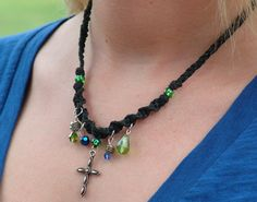 Christian cross necklaces in black macramé and custom colors too!