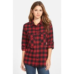 Sanctuary Plaid Boyfriend Shirt (315 RON) ❤ liked on Polyvore featuring tops, sherry, plaid flannel shirt, long sleeve flannel shirt, red long sleeve shirt, red flannel shirt and long sleeve tops