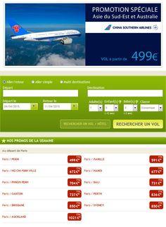 Vol pas cher China Southern Airlines Go voyages, réservez votre billet d'avion vers l'Asie et l'Australie avec China Southern Airlines dès 499.00 € TTC avec Go Voyages.