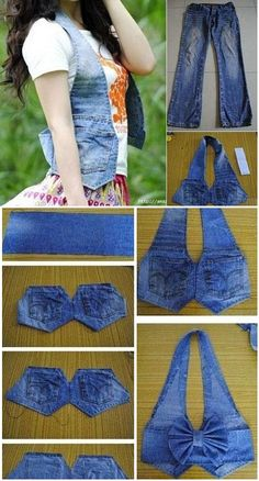 Weste aus alten Jeans DIY – Clever Refashion Minus the Bow! Chaleco De Jeans viejos - DIY Waistcoat using old jeans Waistcoat Out of Old Jeans – DIY Now do this with bleached and dyed jeans and add studs. İsim: Görüntüleme: 2424 Büyüklük: KB (K Diy Clothing, Sewing Clothes, Sewing Tutorials, Sewing Patterns, Bag Patterns, Diy Old Jeans, Jean Diy, Diy Vetement, Diy Clothes Videos