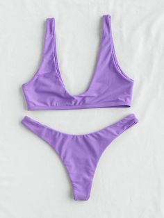 To find out about the Plunge Neckline Sexy Bikini Set at SHEIN, part of our latest Bikini Sets ready to shop online today! Bikini Sets, Bikini Girls, Purple Bikini Set, Bikini Models, Sexy Bikini, High Leg Bikini, Summer Bathing Suits, Fashion Clothes, Travel Backpack