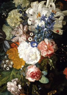 "leuc: "" Jan van Huysum, Bouquet of Flowers (details) "" Art Floral, Megan Hess, Still Life Flowers, Hieronymus Bosch, Botanical Prints, Beautiful Paintings, Oeuvre D'art, Graphic Design Art, Painting Inspiration"