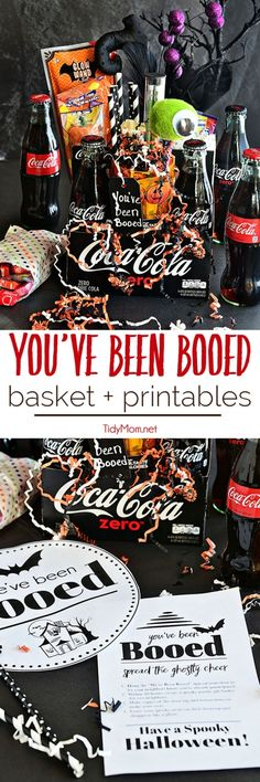 You've Been Booed Free Printables Have fun with your neighbors – You've Been BOOed! This Halloween surprise is fun way to create excitement and smiles around your neighborhood. Coca-Cola makes a great Halloween Boo Basket with free You' Halloween Baskets, Halloween Goodies, Spooky Halloween, Holidays Halloween, Halloween Treats, Vintage Halloween, Happy Halloween, Halloween Decorations, Halloween Party