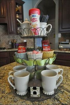 Cupcake holder as a coffee bar.