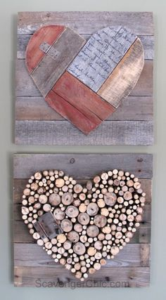 Pallet wood and sticks Valentines Heart diy cute for garden path steps or mosaic ideas. Pallet Crafts, Diy Pallet Projects, Woodworking Projects, Wood Projects, Woodworking Vise, Wooden Hearts Crafts, Wooden Crafts, Heart Diy, Heart Crafts